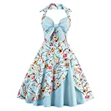 Women's Vintage Dress Ladies Cotton Sexy Retro 1950s Halterneck Rockabilly Swing Floral Print Tea Hem Party Skater A Line Prom Cocktail Party Homecoming Dress Sky Blue UK 10 / S