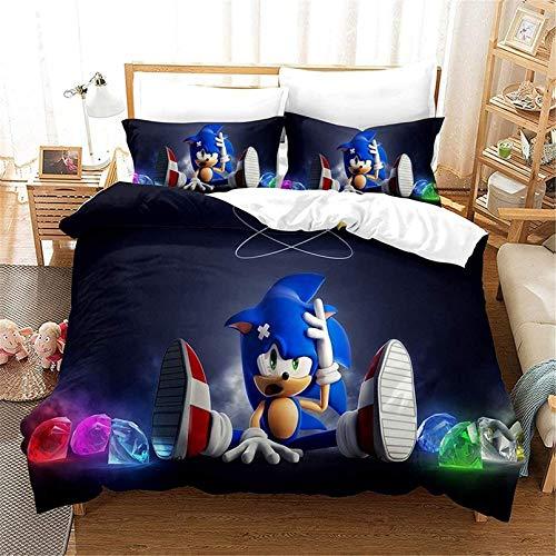 Juego de ropa de cama infantil Anime Sonic, juego de funda de edredón de microfibra, estampado 3D, ropa de cama de tres piezas (B,220 x 240 cm)