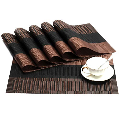 SHACOS Exquisite Placemats Set of 8 Woven Vinyl Place Mats Heat Resistant Dining Table Mats (8, Ombre Coffee Black)