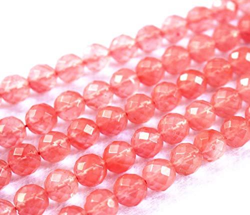 Lot de 47 perles rondes à facettes en quartz cerise 6 mm 8 mm 10 mm 12 mm
