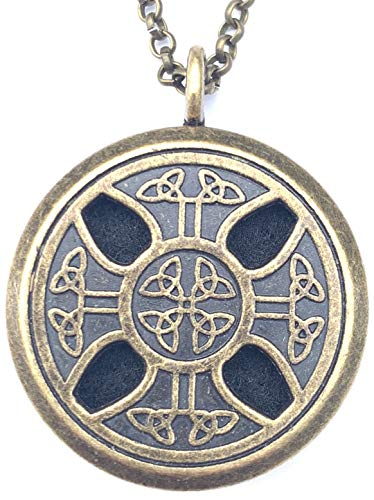 mEssentials Celtic Cross Pewter Aroma Aromatherapy Essential Oil Diffuser Necklace Locket Pendant Jewelry, Bronze Finish, Distressed