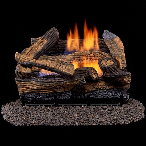 Duluth Forge Ventless Dual Fuel Gas Log Set-18 in, Split Red Oak - Remote...