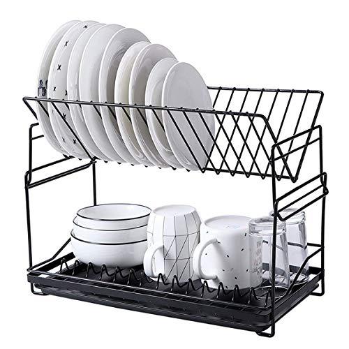 FREELX Cocina Escurridor de Platos de 2 Niveles, Extraíble Escurreplatos, Cuencos Platos Portavasos con Bandeja de Goteo, Estante de Almacenamiento de Cubiertos de Cocina