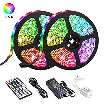LED Strip Lights, Attuosun 32.8ft/10M Waterproof IP65 RGB Light Strips, SMD5050 300Leds Color Changing Flexible Rope Lights Kit with 44 Keys IR Remote Controller and 12V Power Supply for Home, Party