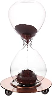 Magnetic Sand Timer-Magnet Glass Hourglass with a Iron Base Desktop Decoration Brown