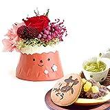 誕生日 の プレゼント 人気商品 花 バラ あじさい おいもや どら焼き お菓子 花とスイーツ お祝いギフト プリザーブドフラワー アレンジメント 和菓子(富士山・赤色)