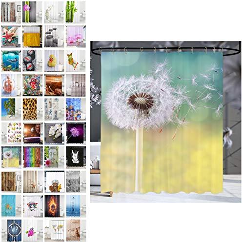 Sanilo® Duschvorhang, viele schöne Duschvorhänge zur Auswahl, hochwertige Qualität, inkl. 12 Ringe, wasserdicht, Anti-Schimmel-Effekt (180 x 200 cm, Pusteblume)