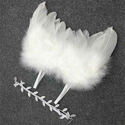 Beaums Ángulo bebé recién nacido ala de la pluma y fotografiar la rama de olivo diadema Prop traje ropa para bebé Traje