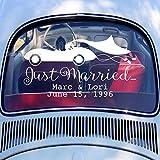 zhuziji Gerade verheiratetes Auto Hochzeit Wandaufkleber personalisierte Benutzerdefinierten Namen Datum Vinyl kreative Autofenster Wandaufkleber wasserdicht abnehmbare Aufkleber 85x48cm