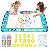D-FantiX Water Doodle Mat, Extra Large Water Drawing Mat Kids Magic Doodle Board Painting Writing Pad with 4 Magic Pen Educational Toy Gift for Toddlers Boys Girls 4 Colors 38.5 ' x 30 '