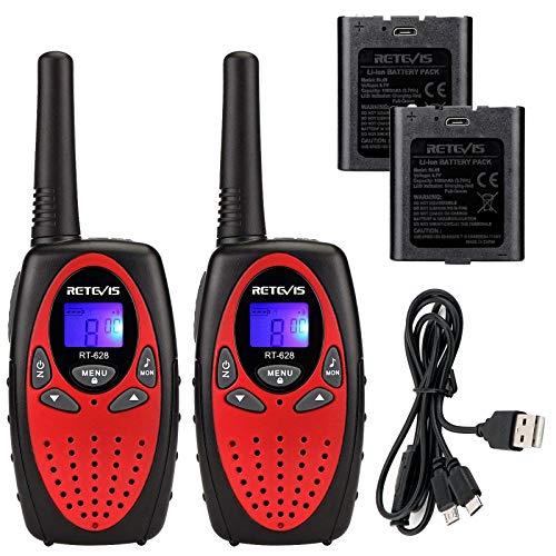 Retevis RT628 Walkie Talkie Niños Recargables PMR446 8 Canales VOX 10 Tonos de Llamada Walkie Talkies Juguete para Niños con Baterías y Cable de Carga Walkie Talkie Niñas (Rojo, 1 Par)