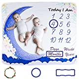 Baby Blankets for Boys and Girl, CHOOBY Unisex Photo Background Memory Monthly Milestone Blanket for Newborn Baby Shower, Baby Blankets Boy Growth Chart Blanket, 48'x40'