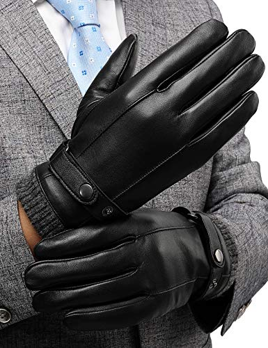 Winter Leather Gloves for Men, with 3M Thinsulate Insulation Full-Hand Touchscreen Dress Texting Driving Warm Lining Knitted Cuff Cold Weather Gloves, Black, US L-8.9'