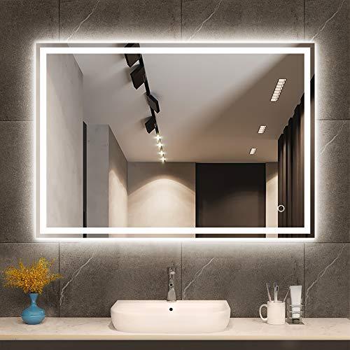 600 x 800 mm LED Retroilluminato illuminato Bluetooth Specchio Bagno con Demister Pad, Touch Dimmerabile Pulsante Illuminato Bagno Trucco Parete Specchio Ritratto/Paesaggio