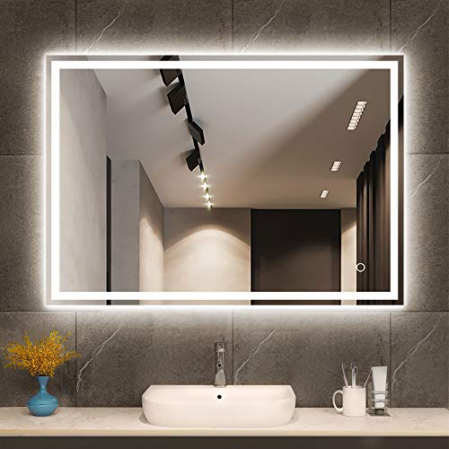 Espejo de baño con luz LED de 60 x 80 cm, Espejo de baño Iluminado, Espejo de baño Grande, Espejo montado en la Pared Inteligente con Altavoz Bluetooth táctil Regulable botón Horizontal/Vertical