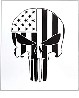 OBUY American Punisher Skull Stencil for Painting on Wood, Walls, Fabric, Airbrush, More | Reusable 7.36 x 8.58 inch Mylar Template