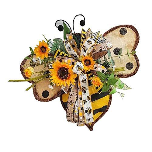 Handmade World Bee Day Bee Sunflower Wreath, 13.5 Inch Artificial Garland Hanging Pendants, Happy Honey Bee Decor for Front Door, Bedroom, Wall, Window Party Decoration 3#