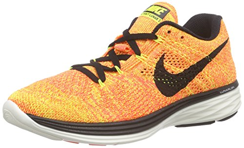 Nike Womens Flyknit lunar3 Fabric Low Top Lace Up Running, Black, Size 6.0