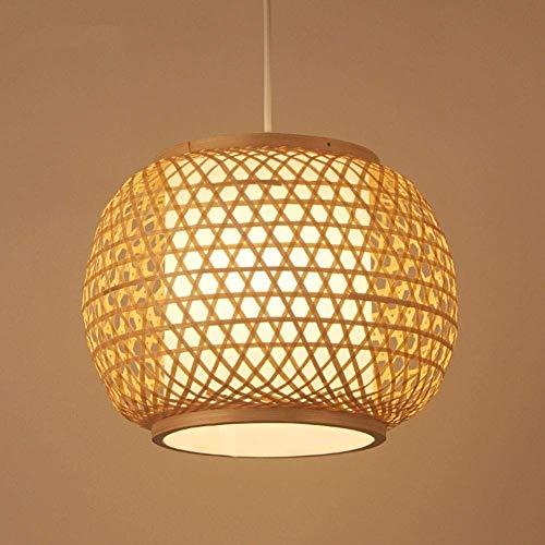QTRT Bambus Lampenschirm Geflochtene Rattan Hängelampe Moderne Natürliche Küche Kronleuchter Schlafzimmer Nachttischlampe E27 Pendelleuchte Dekoration Beleuchtung Deckenleuchten