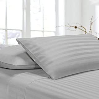 Pillow Covers/Pillow Case/Pack of 2 Pillow Cover, 400 Thread Count, 100% Egyptian Cotton, Soft and Smooth Wrinkle-Free Pillow Cover, Light Grey Stripe, Standrad 20X30 Inch Size