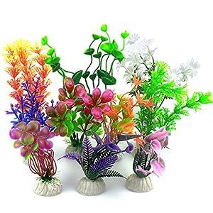 Vascinate Aquarium Fish Tank Plastic Plants, 10 Pcs Aquarium Plants Fish Tank Decorations, Aquarium Artificial Plants…