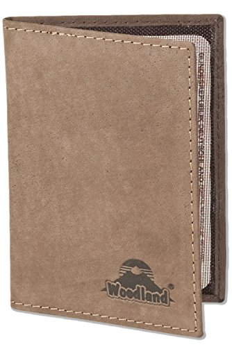Woodland® Lederetui für den alten Personalausweis und den KFZ-Schein aus weichem, naturbelassenem Büffelleder in Dunkelbraun/Taupe