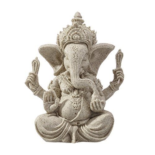 ULTNICE Elefante Estatua Escultura Arenisca Ganesha Buda Hecho a mano Estatuilla