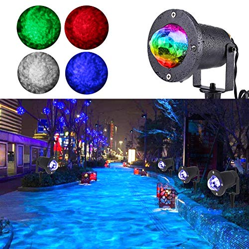 Water Wave Lights Christmas Projector - KOOT Outdoor Waterproof LED Ripple Garden Lights RGBW 10 Colors Water Effect or Flame Fire Effect with Remote for Halloween Indoor Wedding Party Holiday