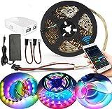 SUBOSI - Tira LED WiFi Dreamcolor, RGB 5050 de 150 ledes, sincronización con música, compatible con Alexa, tira luminosa LED con efecto de caza, multicolor, 12 V, 3 A, kit completo