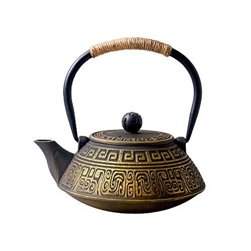 HwaGui-Teekanne Gusseisen Gold Japan Teekannen mit Sieb Infuser für Stövchen, 800ml [MEHRWEG]