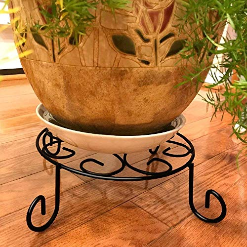 Amagabeli 10 inch Metal Potted Plant Stand Rustproof Iron Art Flower Pot Holder Rack Indoor Outdoor Steel Short Planter Supports Trivet Floor Saucer Decorative Garden Pots Containers Stand Black