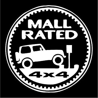 All About Families MALL Rated 4X4 Jeep ~White ~ Window Sticker/CAR/Truck/RV/Boat with Alcohol PAD~ Size 5