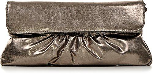 """Leder Clutch mit Metallic-Optik von \""""CNTMP\"""" Metallicleder Damen Leder Handtaschen, Clutch, Clutches, Clutchbags, Unterarmtaschen, Partybags, Trend-Bags, Metallic, Leder Tasche, 31x15x2,5cm (B x H x T) Farbe:Anthrazit"""
