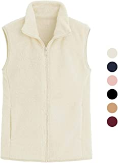 Women's Fleece Vest Solid Color Sleeveless Zipper Imitation Lamb Hair Plus Velvet Jacket Autumn and Winter Outerwear (Color : White, Size : M)