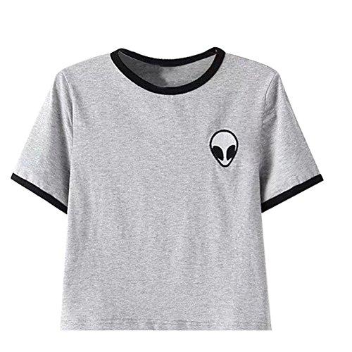 Aliens stampa 3d raccolto T-shirt manica corta cime delle donne - grigio #1, M