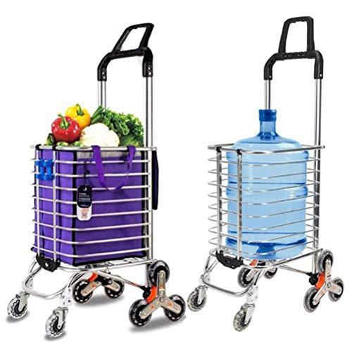 WYZXR Lebensmittel Wäscherei Utility Faltbarer Einkaufswagen Wagen,8-Rad-Treppensteigen aus Aluminiumlegierung,Tragfähigkeit 50 kg,Freie Haken Gepäckseil Aufbewahrungstasche - 35L Kapazität,Purpl