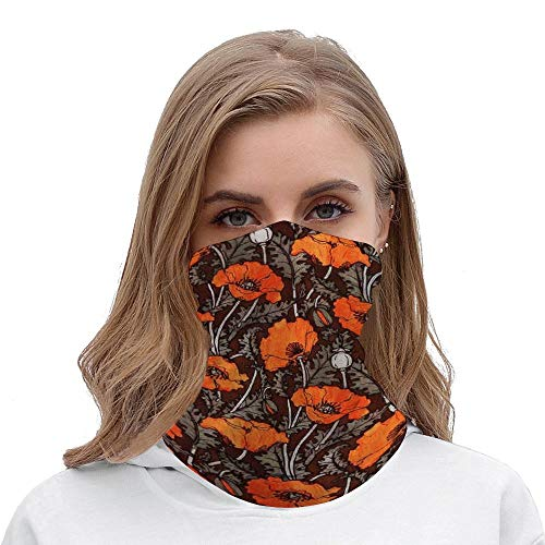Unisex Seamless Face Mask Bandanas Neck Gaiter Tube Headwear Bandana, RED POPPIES IN BLACK WHITE Poppy Field Floral Face Mask Bandanas for Dust, Motor