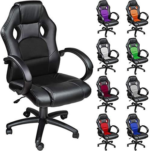 TecTake Poltrona Sedia direzionale da ufficio Racer classe di lusso - disponibile in diversi colori (Nero)