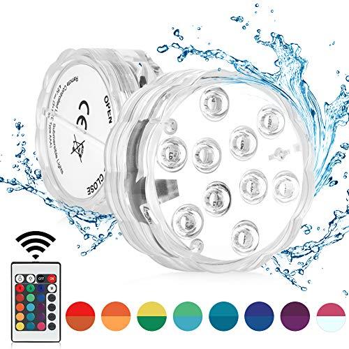 Sanfant Poolbeleuchtung Unterwasser,Wasserdichte Multi Farbige RGB Teichbeleuchtung Poollicht,Unterwasser LED mit IR Fernbedienung für Schwimmbad,Vase Base,Brunnen,Weihnachten (1Stk)