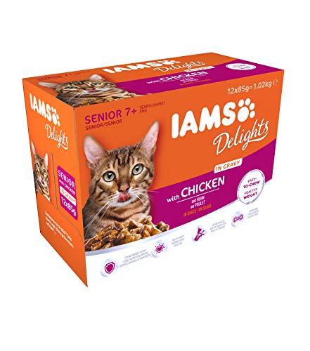 IAMS Delights Senior Katzenfutter Nass - Multipack mit Huhn in Sauce, hochwertiges Nassfutter für ältere Katzen ab 7 Jahre, 12 x 85 g