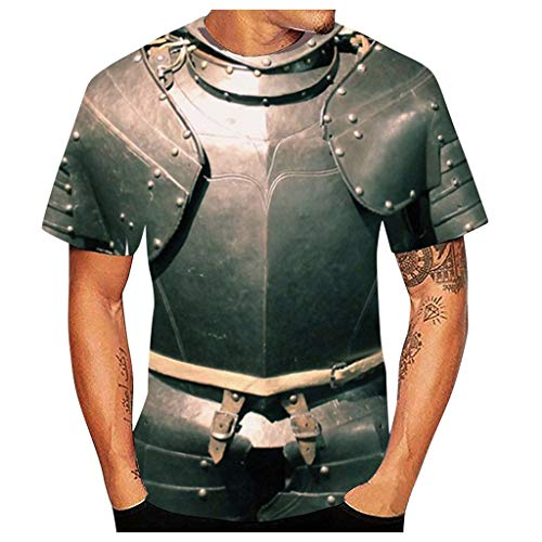 Qinhanjia Männer Vintage Lustige 3D Gedruckt Kurzarm T-Shirts Tees Cosplay Kostüm Bluse, Herren Gothic Retro 3D Ritter Ganzkörper Rüstung Bedruckt Kurzarm Cosplay Kostüm Kurzarm T-Shirt