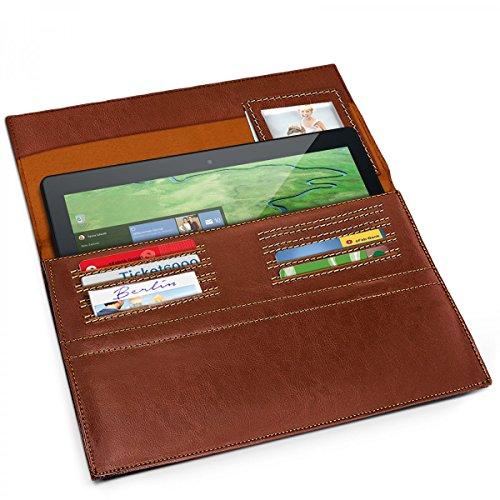 eFabrik Ledertasche für Odys Winpad 12 Tasche aus Leder 2in1 11.6 Zoll Schutz Hülle Schutztasche Tasche Cover Sleeve Zubehör Vintage braun