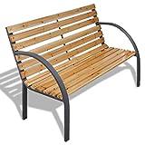 Gartenbank mit Lattenrost Holz und Rahmen von Eisen Breite: 62cm Bänke Außenbeleuchtung