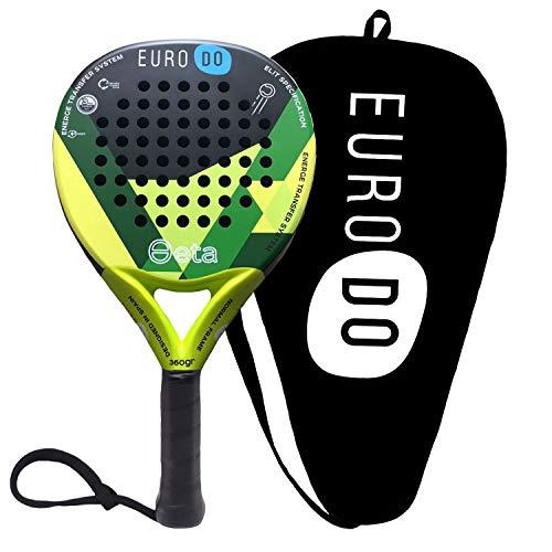 EURODO Padel Racket - Racchetta da Paddle in Fibra di Carbonio per Giocatori di tutti i livelli (Verde)