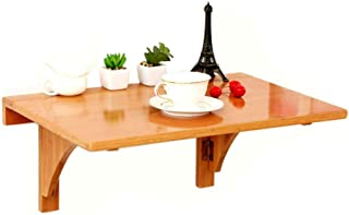 HXFAFA Table murale pliante en bambou à montage mural Drop-Leaf Table flottante pour ordinateur portable ou bureau Design ...