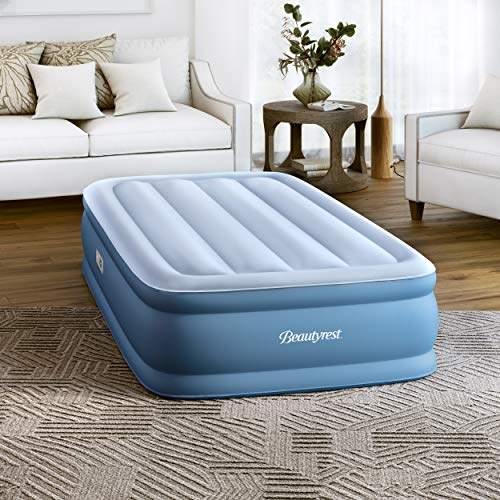 """Simmons Beautyrest Sensa Rest Express Air Bed, Internal Pump with Built-in Edge Support, 100% Leak Proof with Sleep Fresh Technology, 14"""" Twin, Blue"""