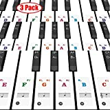 Lomodo 3 Pack Piano Keyboard Stickers for 37/49/54/61/88, White & Black, Transparent & Removable Piano Sticker, Leaves No Residue, Perfect for the Piano Beginners