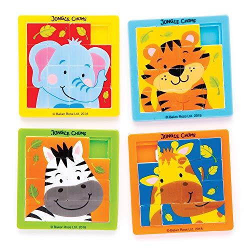 Baker Ross- Puzles deslizantes con animales de la selva (Pack de 5) para bolsas sorpresa o como idea de regalo infantil