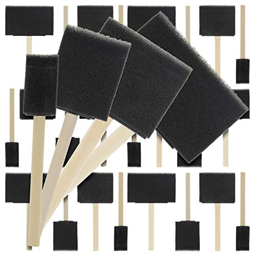 US Art Supply Variety Pack Foam Sponge Wood Handle Paint Brush Set