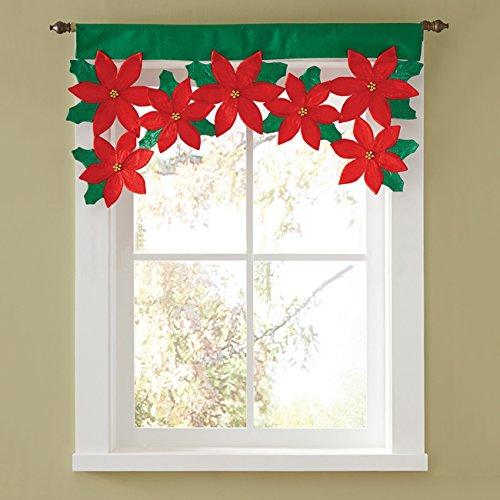 THEE Cenefa de Cortina de Flores de Navidad Decoraciones de Ventana